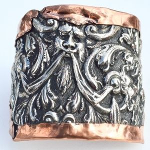 Green Man Copper Silver Wide Cuff Bracelet Antique